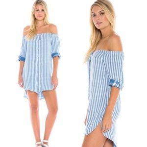 Anthropologie Cloth & Stone Blue Stripe Dress